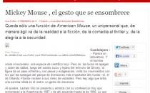 Mickey Mouse , el gesto que se ensombrece